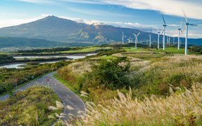 Picture Nature, Road, Mountains, Japan, The wind, Windmills, Landscape