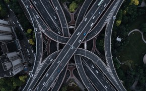 Picture road, roads, landscapes, streets, tangled, height, aerial view, road junction, multi-level