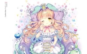 Picture chair, crown, girl, box, Princess, bow, long hair, wink, gems, ruffles, briliant, by Wasabi