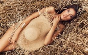 Picture wheat, summer, hat, Фотограф: Ярослав Мончак, Модель: Ольга Собенникова