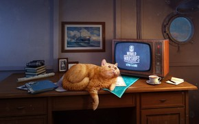 Picture The game, Table, Cat, Ship, The window, Wargaming, World of Warships, Cabin, Red cat