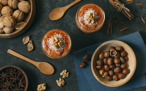 Picture spoon, nuts, cinnamon, dessert, sweet, spices