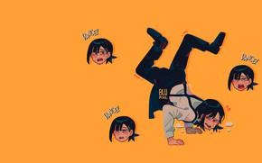 Picture anime, yellow, anime, dance, yellow background, Kobeni Higashiyama, @blupixl__, Кобэни Хигасияма, Chainsaw Man, Человек-бензопила