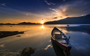 Picture the sky, the sun, clouds, light, landscape, sunset, mountains, nature, comfort, reflection, shore, boat, silence, …