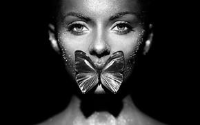 Picture girl, butterfly, monochrome, Oleg Gekman, Fashion model woman