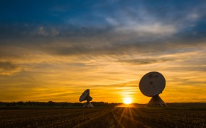 Picture field, forest, the sky, the sun, clouds, rays, light, landscape, sunset, nature, two, antenna, the …