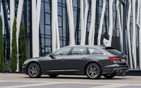 Picture Audi, side view, 2018, universal, dark gray, A6 Avant