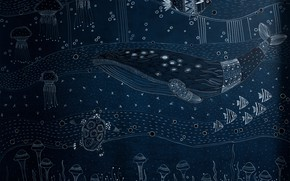 Picture fish, turtle, kit, WALL MURAL, DEEP BLUE
