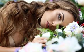 Picture look, girl, flowers, portrait, lies, Irina, Светлана Бойнович
