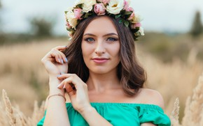 Picture girl, nature, makeup, hairstyle, a wreath of roses