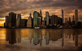 Picture reflection, home, the evening, New York