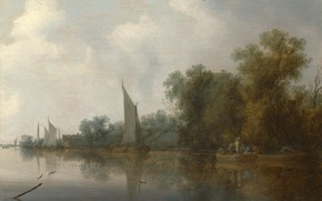 Picture landscape, picture, Salomon van Ruysdael, Salomon van Ruisdael, Fishermen on the River Cleaning Network
