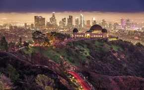 Picture Park, Griffith Park, lighting, home, road, the city, Griffith Park, Los Angeles, night, building, USA