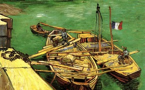 Picture boats, Vincent van Gogh, flag of France, Unloading Sand Barges, Quay with Men