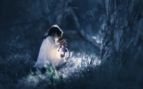 Picture forest, night, girl