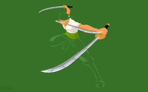 Picture greens, minimalism, guy, swords, One Piece