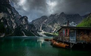 Picture landscape, mountains, clouds, nature, lake, house, boats, The Dolomites