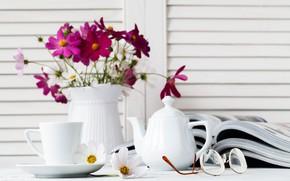 Picture flowers, tea, glasses, Cup, vase, magazines, Andrey N.Cherkasov