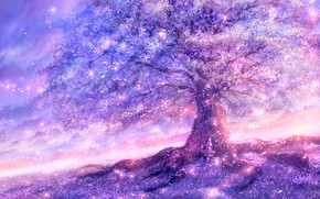 Picture the sky, girl, nature, tree, flowering
