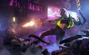 Picture Girl, Weapons, Cyberpunk 2077, Cyberpunk, Woman Warrior, The futuristic
