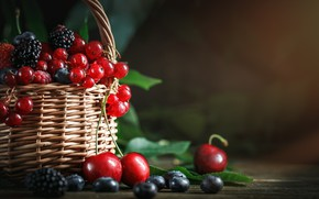 Picture table, ripe, berries, fruit, basket