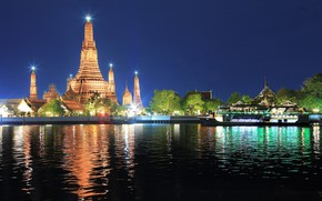Picture water, night, the city, lights, Thailand, Bangkok, temples
