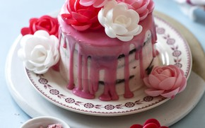 Picture flowers, cake, decoration, dessert, sweet, glaze, cakes, sweets