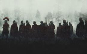 Picture Fog, Morning, Soldiers, War, Legionaries, Shields, The Romans, Evgenij Kungur, by Evgenij Kungur, Legionnaires