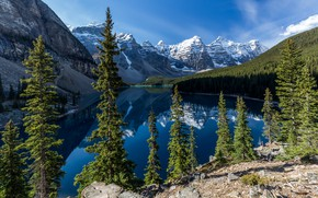 Picture landscape, mountains, nature, lake, reflection, stones, rocks, tops, Canada, Albert, Alberta, Canada, forest, national Park, …
