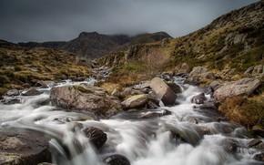 Picture stones, stream, river, Wales, Snowdonia