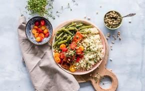 Picture fish, nuts, tomatoes, tomatoes, cherry, salmon, Krupa, porridge, beans, bulgur, stryuchkovaya beans