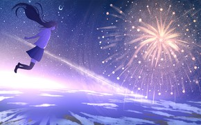 Picture the sky, girl, night, fireworks, school uniform, Sketcher