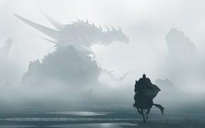 Picture Horse, Fog, Dragon, Monster, Silhouette, Horse, Warrior, Fantasy, Dragon, Art, Fiction, Traitor, Omar Bronze, Gallop, …