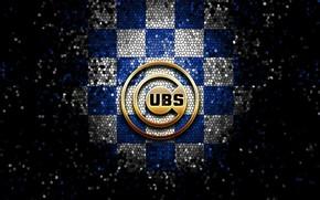 Picture wallpaper, sport, logo, baseball, glitter, checkered, MLB, Chicago Cubs