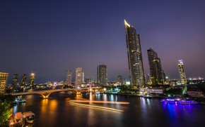 Picture water, bridge, the city, boats, Thailand, Bangkok