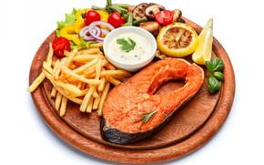 Picture lemon, fish, vegetables, sauce, dish, potatoes