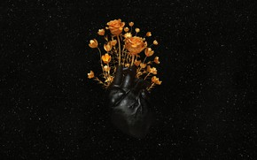 Picture BACKGROUND, GOLD, FLOWERS, HEART, ROSES, VESSELS