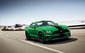 Picture coast, speed, Ford, Fastback, 2018, Mustang GT