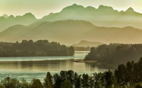 Picture mountains, Canada, haze, река Фрейзер