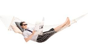 Picture smile, hammock, newspaper, male