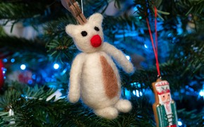 Picture white, branches, toy, bear, bear, New year, tree, needles, Teddy, hanging, Mishutka, Christmas, felt