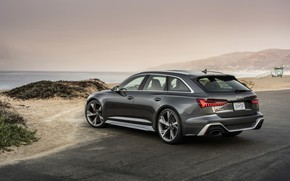 Picture Audi, shore, ass, side, universal, RS 6, 2020, 2019, dark gray, V8 Twin-Turbo, RS6 Avant