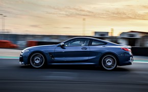 Picture coupe, speed, BMW, profile, Coupe, 2018, gray-blue, 8-Series, pale blue, M850i xDrive, Eight, G15