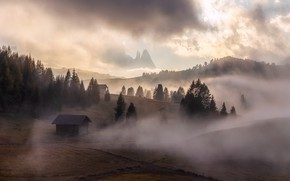 Picture mountains, nature, fog, morning