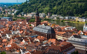 Picture river, building, home, Germany, Church, Cathedral, town, Germany, Baden-Württemberg, Baden-Württemberg, Heidelberg, Heidelberg, Neckar River, Church …