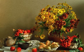 Picture still life, background, fruit, bouquet