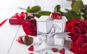 Picture flowers, gift, roses, bouquet, hearts, red, red, love, flowers, romantic, hearts, chocolate, valentine's day, roses, ...