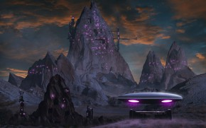 Picture clouds, light, mountains, night, the city, lights, fog, future, rendering, fantasy, fiction, rocks, UFO, art, …