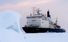 """Picture Snow, Ice, Icebreaker, The ship, Russia, Nose, Tank, The add-in, Atomflot, Nuclear-powered icebreaker, Rosatom, """"Vaigach"""", …"""