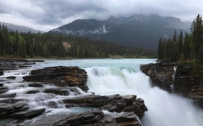 Picture forest, mountains, river, waterfall, Canada, Albert, Alberta, Canada, Jasper National Park, Jasper national Park, Athabasca …